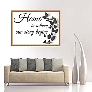 WM & MW 5D Diamond Painting Embroidery by Number Kit, Home is where our story begins Letter Butterfly DIY Wall Home Decor Art Part Drill