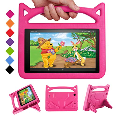New Fire HD 10 Tablet Case 2017/2015 - SHREBORN Light Weight Shock Proof with Stand Kid Proof Cover Kids Case for All New Amazon Fire HD 10 Tablet(5th/7th Generation, 2015/2017 Released)-Pink