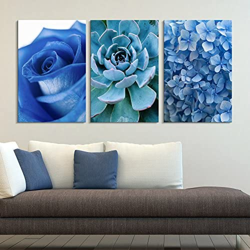 3 Panel Blue Rose Succulent Plant and Small Blue Flowers x 3 Panels