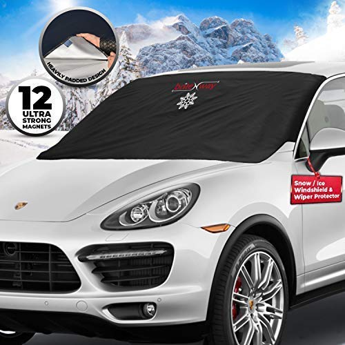 Windshield Cover for Ice and Snow - Wiper Protector - Non Scratch Magnetic - Sturdy - Heavy Duty Material - Self Storage Pouch - Keep Your Vehicle Exterior Ice Free and Clean