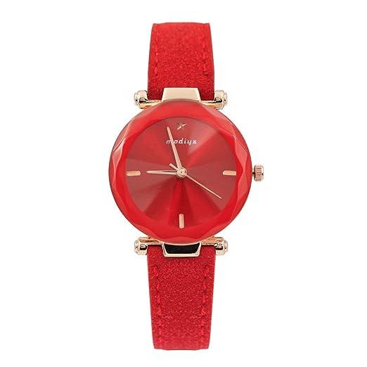 Kinlene Relojes mujer,Fashion Color Strap Digital Dial Banda de cuero analogico de cuarzo relojes de pulsera (Red): Amazon.es: Relojes