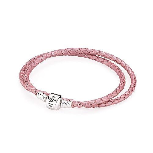 36a6a7eb4e59 PANDORA - Doble trenzadas Momentos pulsera de cuero rosa PANDORA  590705CMP-D - 41  Amazon.es  Joyería