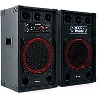 "Skytec SPB-12 Altavoces activo y pasivo 30cm (12"") (800W potencia, entrada USB SD reproductor MP3, sistema sonido profesional, altavoz bassreflex con subwoofer, apto exterior, entrada micrófono)"