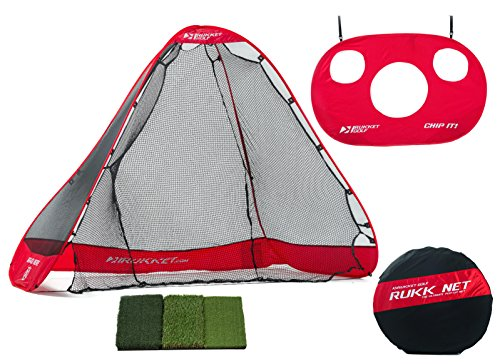 Range Practice Driving - Rukket Portable Driving Range 3 in 1 Golf Set: Practice Net, Chipping Target and High Quality Tri-turf Hitting Mat