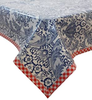 Freckled Sage Oilcloth Tablecloth Toile Blue With Red Gingham Trim You Pick  The Size
