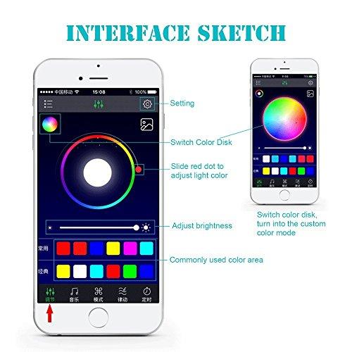 SJPLIght Car LED Strip Lights, 4 Pcs 48 LEDs Car Interior RGB Music Atmosphere Floor Underdash Lights, APP Control Bluetooth Light Kit for Iphone/Android/Google Phones by SJPLIght (Image #1)'