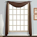 """Avanti Home Elegance Solid Colors 1 PC Scarf Valance Soft Sheer Voile Window Topper Swag Panel Curtain 37"""" x 216"""" Long (1 Scarf: 37"""" x 216"""", Chocolate)"""