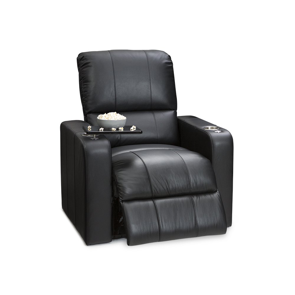 Seatcraft Millenia Leather Home Theater Seating Manual Recliner, Black