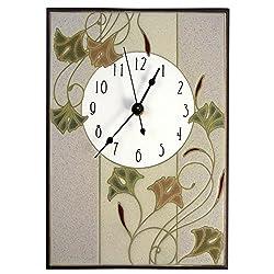 Nouveau Ginkgo Ceramic Art Wall Clock, 7.5 x 10.5