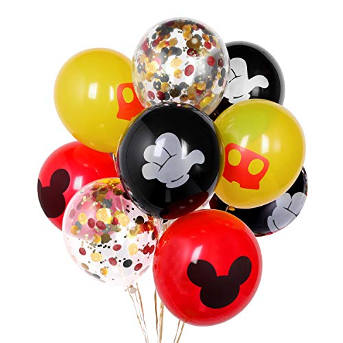Mickey Mouse Party Supplies, Black Red and Yellow Balloons for Mickey Mouse Party Decoration, 12 Inches Latex Balloons and Confetti Balloons for Baby Shower Bridal Shower Birthday Party Supplies Micke