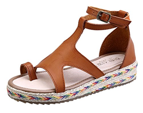 DADAWEN Women's Espadrilles Flat Sandals Beach Open-Toe Shoes Brown AzsqdJlk4C