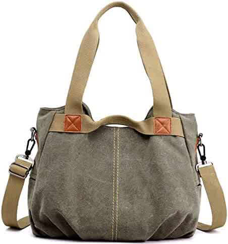 36bc9906b1de Z-joyee Women s Ladies Casual Vintage Hobo Canvas Daily Purse Top Handle Shoulder  Tote Shopper