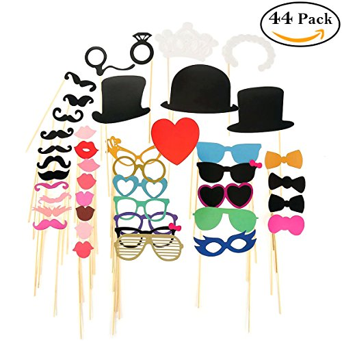 Photo Booth Props 44pcs, Party DIY Dress-up Props Kit on