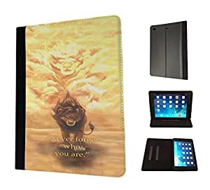 251 - The Lion Life Quote Never forget who you are Design Apple ipad Pro -2015 Fashion Trend TPU Leather Flip Case Protective Purse Pouch Book Style Defender Stand Cover