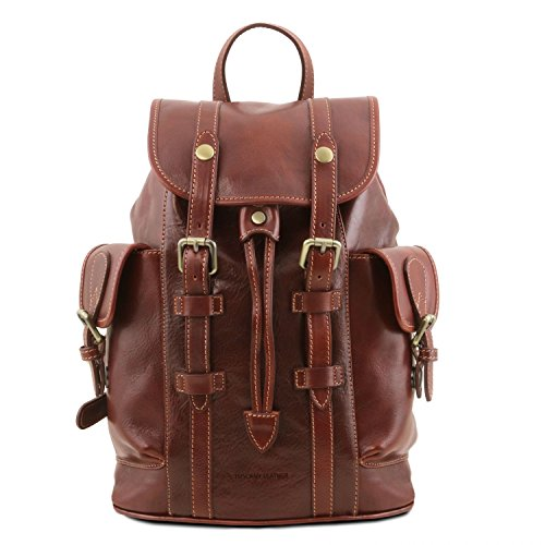 Tuscany Leather Nara Leather Backpack with side pockets Brown by Tuscany Leather