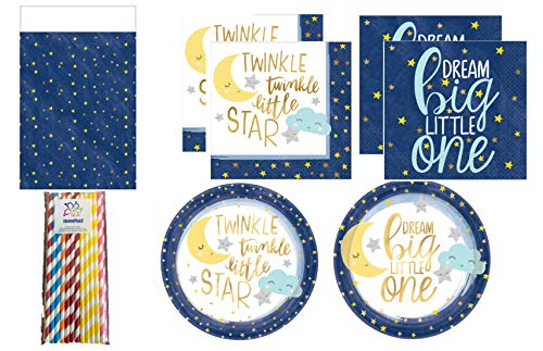 (Twinkle, Twinkle Little Star Party Supplies Pack for 16 Guests - Dinner & Dessert Plates, Napkins, ElevenPlus2 Straws and a Tablecover)