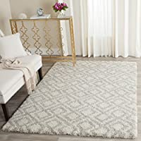 Safavieh Arizona Shag Collection ASG740A Southwestern Diamond Geometric Ivory and Beige Area Rug (8 x 10)