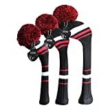 Scott Edward Knitted Golf Head Covers Set Black White Red Stripes Style 3PCS/Set for Driver(460cc), Fairway Wood and Hybrid with Rotatable Number Tags Soft Acrylic Yarn Double-Layers Knitted Washable