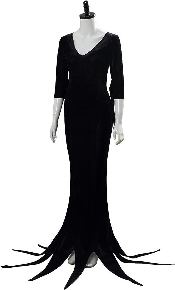 Addams Disfraz Morticia Addams Miércoles Halloween Cosplay Coat Dress - Negro - XX-Large: Amazon.es: Ropa y accesorios