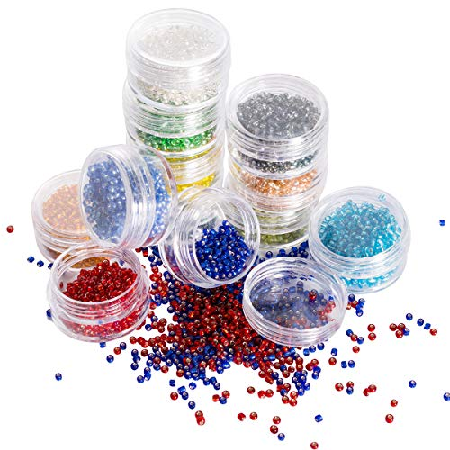 Muticolor 2mm Glass Seed Beads - LONGWIN Approx. 9600pcs Multicolor Crystal Seed Beads in 12 Colors Jewelry Making Supply for DIY Beading Projects, Bracelets, Necklaces, Earrings & Other Jewelries -