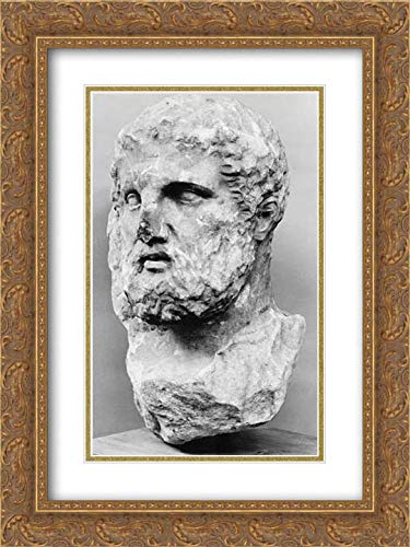 (Greek, Attic Culture - 18x24 Gold Ornate Frame and Double Matted Museum Art Print - Marble Head of a Bearded Man from a Grave Marker)