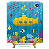 Childrens Fish Shower Curtain Riyidecor Marine Underwater Kids Shower Curtain Weighted Hem Yellow Submarine Colorful Fish Coral Deep Ocean Decor Fabric Panel Bathroom Set 72x72 Inch with 12-Pack Plastic Shower Hooks
