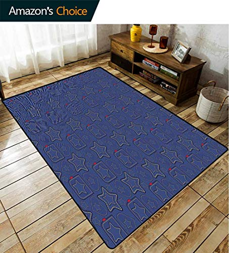 Bigdatastore Star Flowers Area Rug Nonslip Pads, Denim Style Pattern with Hearts and Geometric Motifs on Stripes Background, Fashionable High Class Living Dinning Room(6'x 9')