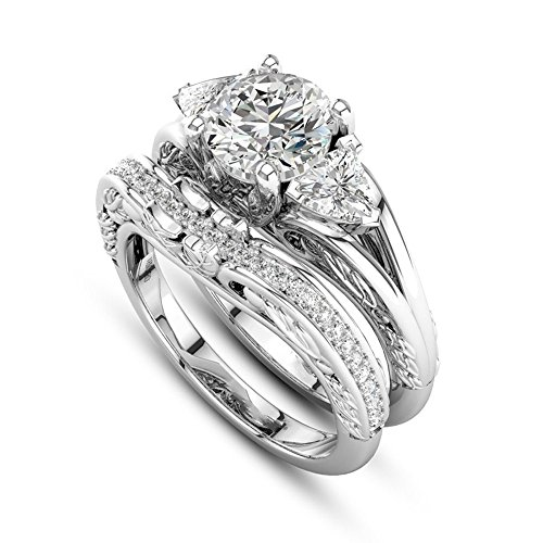 〓COOlCCI〓 2-in-1 Fashion Brilliant Diamond Halo Ring Engagement Wedding Band Ring Creative Ring Set Accessories for Women Silver