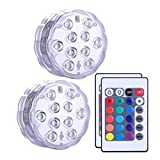 Cuitan 2PCS RGB LED Lights with Remote Control Waterproof Submersible Light Lamp for Aquarium/Fountains/Vases/Pool/Fish Tank/Wedding/Party/Halloween/Christmas/Garden/Festival/Indoor/Outdoor Decoration