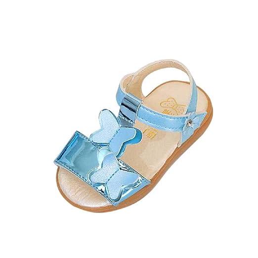 4da7418dd67f35 Kids Sandals FAPIZI Children Girls Bowknot Non-Slip Flats Princess Casual  Single Breathable Shoes Blue