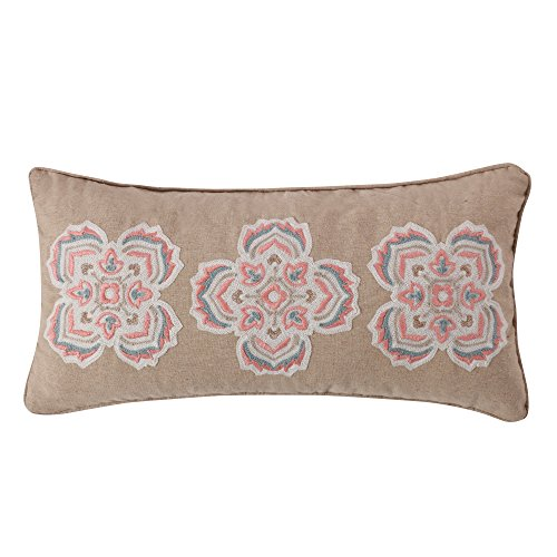 Levtex Alden Coral Crewel Medallions Pillow, Natural,Coral, Medallion