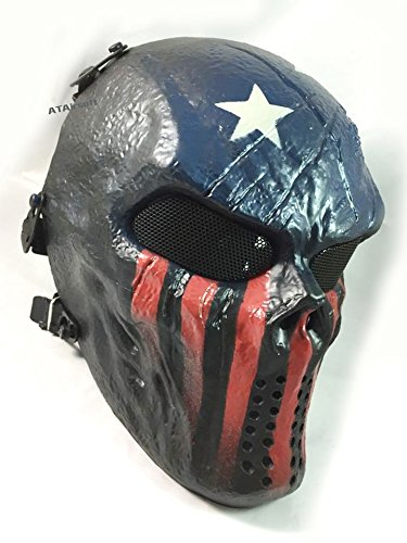 Usa Paintball Mask - ATAIRSOFT Airsoft Paintball Hockey Full Face Metal Mesh Eye Bb Protect Full Face Mask Cosplay M06 (US Flag)