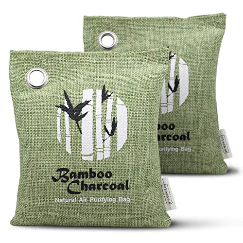 [2 Pack] Natural Air Purifying Bag, Fragrance Free Deodorizer, Odor Eliminator for Cars, RVs, Closets, Bathrooms. Bamboo Charcoal Bag, Pet Friendly Air Freshener, Purifier and Moisture Absorber
