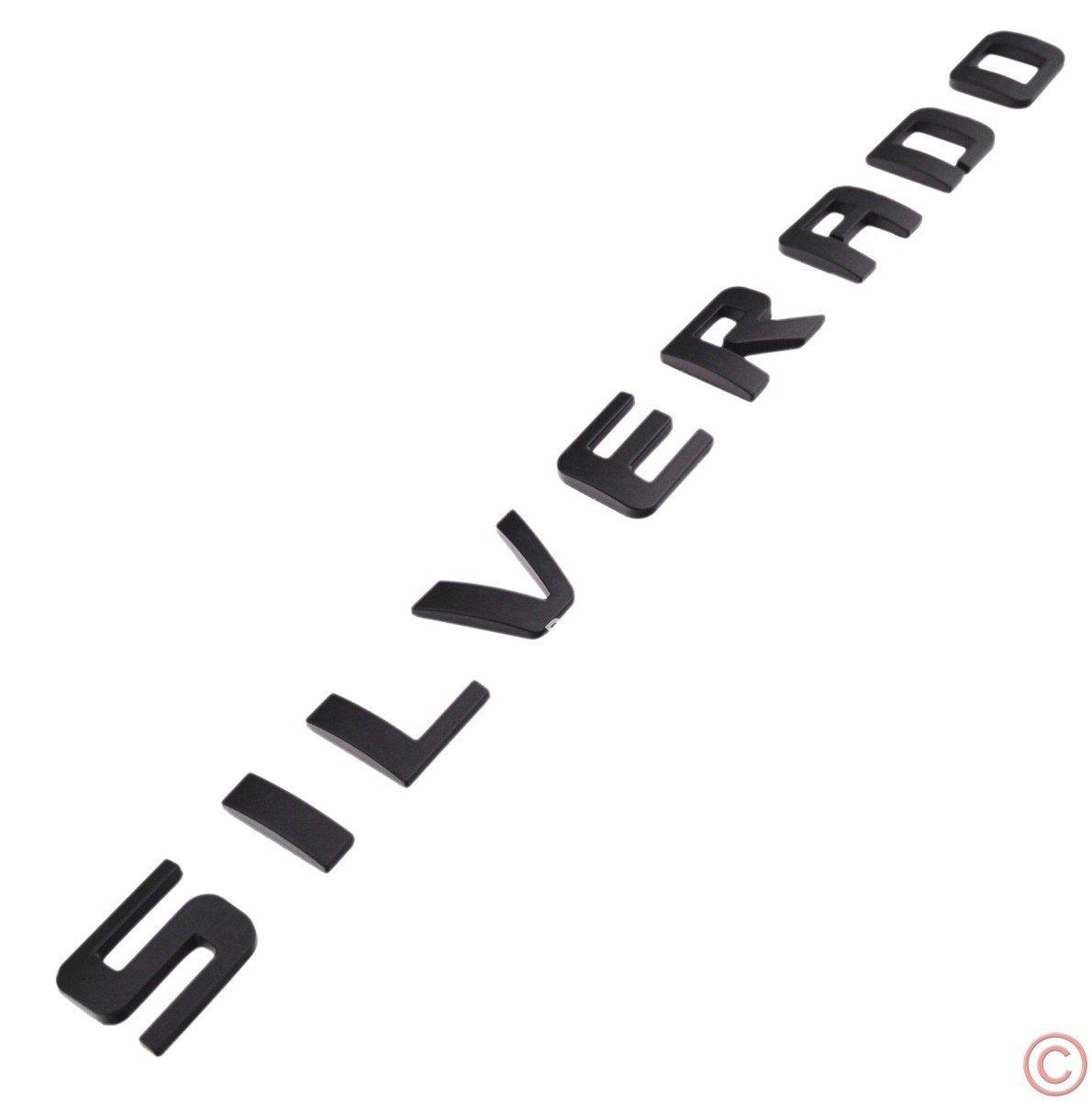 3x PartsTo Silverado Nameplate Letter Script Emblems Badge for Chevrolet Silverado 2007-2015 Matte Black