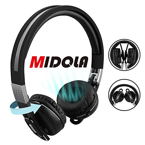 MIDOLA Sports Bluetooth Headphones Wireless Wired On-Ear Foldable Portable Durable Adjustable Lightweight, with Soft Earmuffs, TF Card Slot, 3.5mm AUX Jack, Built-in Mic for Cellphone Tablet