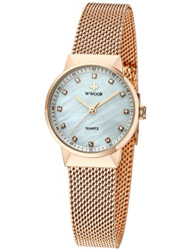 Stainless Steel Diamond Watch (WWOOR Women's Rhinestone Stainless Steel Mesh Band Quartz Watch Casual Business Wristwatch Rose Gold)