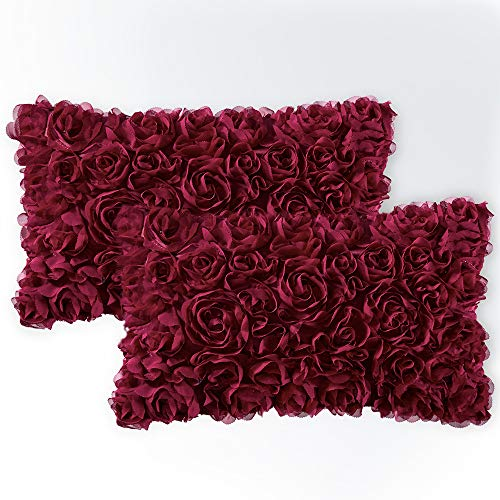 (MIULEE Pack of 2 Decorative Romantic Stereo Chiffon Rose Flower Pillow Cover Solid Square Pillowcase for Sofa Bedroom Car 12x20 Inch 30x50 cm Wine Red)
