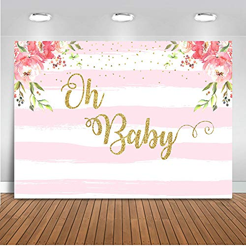 Mocsicka Oh Baby Striped Floral Backdrop 7x5ft Vinyl Pink and White Striped Floral Baby Shower Photo Backdrops Oh Baby Party Event Decoration Banner Photo Shooting Prop Photography Background]()