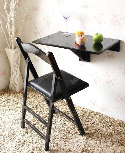 SoBuy® Mesa plegable de pared, mesa de cocina, mueble infantil, mesa para portatil, mesa para comer, escritorio 60x40cm FWT03-SCH, color:negro