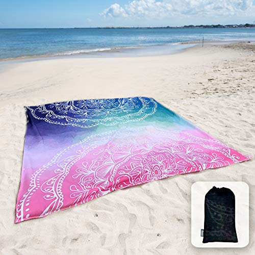 Sunlit Silky Soft Sandfree Beach Blanket Sand Proof Mat with Corner Pockets and Mesh Bag 6' x 7' for Beach Party, Travel, Camping and Outdoor Music Festival,Blue and Pink Mandala
