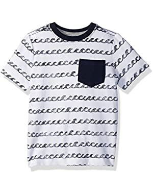 Baby Toddler Boys' Navy Wave Knit Top