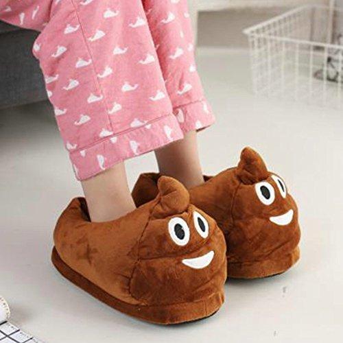 Emoji Zapatillas De Invierno Caliente Lindo De Cartón Suave Felpa Zapatillas De Interior Unisex En casa by Dream's Story Marrón