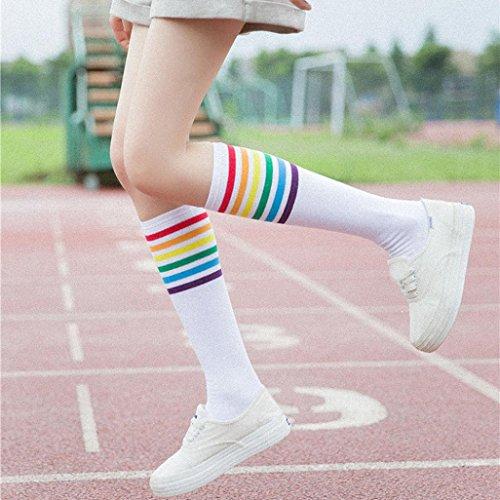 Mujer Yuyoug Rodilla Calcetines La Para Casual Hasta Blanco Wr8rycFY