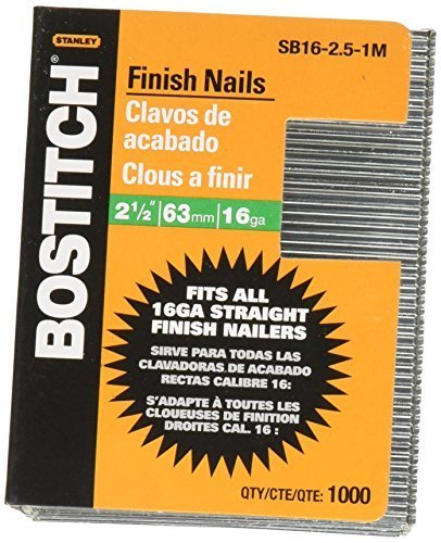 (BOSTITCH SB16-2.5-1M 2-1/2-Inch-by-16-Gauge Bright Finish Nail (1,000 per Box) by BOSTITCH)