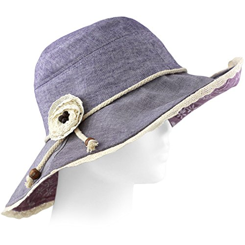 Packable Summer Beach Sun Hat - Flexible Wide Wire Brim, Lace Trim, w Strap - Dark - Beach City Clothing Stores Panama