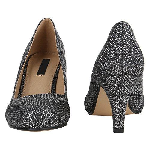 Damen Klassische Pumps Spitze Stiletto Schuhe Party Mid Heels Glitzer High Heels Leder-Optik Hochzeit Flandell Grau Metallic