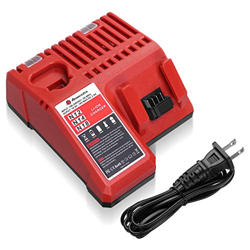 Powerextra M12 & M18 Rapid Replacement Charger for Milwaukee 48-59-1812 M12 or M18 M14 Lithium Battery 48-11-2420 48-11-2440 48-11-1820 48-11-1840 48-11-1850 48-11-2401 48-11-1890 -  N12,N14,N18