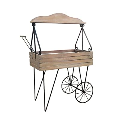 Pergolas Flower Stand Flower Stand Iron Wood cart Decoration Frame Shelf Old Storage Flower Stand Living Room Flower Stand Wrought Balcony Flower Rack (Color : Brown, Size : 4892135cm): Garden & Outdoor