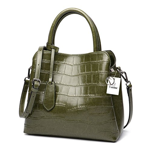 Yoome Crocodile Top Classic Ladies Handbags Bag Women's Green Purse Satchel handle Embossed Leather nnqT1Erxwg