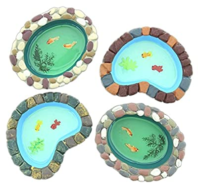 "Set of 4 Assorted Mayrich Mini 4"" Fairy Garden Ponds Painted Fish Design"